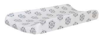 Navy Flower Changing Pad Cover | Pink Crib Collection