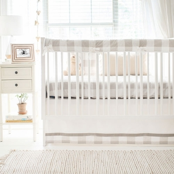 Buffalo Plaid Crib Bedding | Khaki Collection