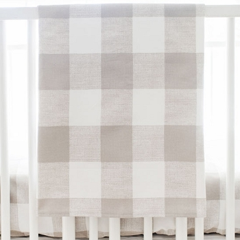 Khaki and White Plaid Crib Blanket | Khaki Buffalo Check Bedding Collection