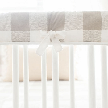 Crib Rail Cover | Khaki Buffalo Check Baby Bedding Collection