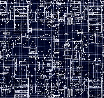 Michael Miller Fabrics Castle Plans Navy
