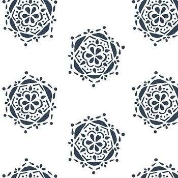 Navy Flower Fabric | Art Gallery Bejeweled Seal Ink