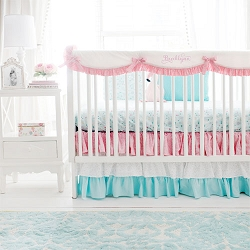 Pink and Aqua Nursery Bedding | Le Paris Collection