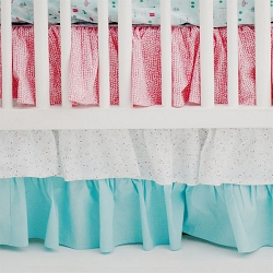 Pink and Aqua Ruffle Crib Skirt | Le Paris Baby Bedding Collection
