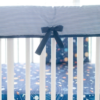 White and Navy Stripe Crib Rail Cover | Blue Moon & Ahoy Matey Collections