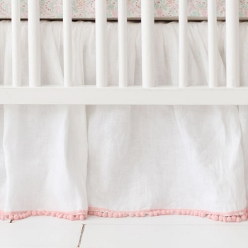 White Linen Ruffled Crib Skirt with Pink Pom Poms| Magic Folk Crib Collection