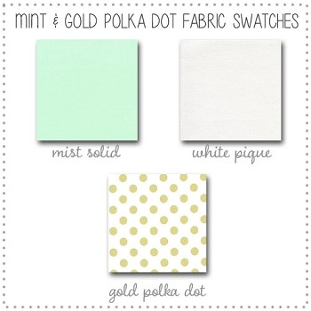 Mint and Gold Crib Collection Fabric Swatches Only