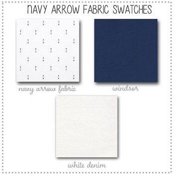 Navy Arrow Bedding Collection Fabric Swatches Only