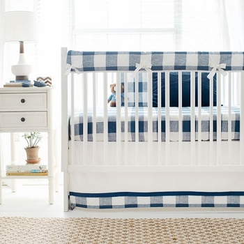 Navy Buffalo Plaid Baby Bedding Crib Collection