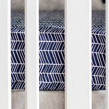 Navy Herringbone Crib Sheet