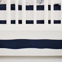 White and Navy Stripe Nursery Skirt | Aim High & Moose Trail Crib Collections