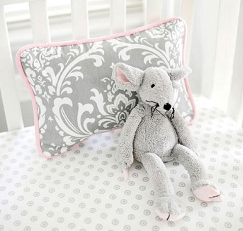 Pink and Gray Damask Pillow | Stella Gray Crib Collection