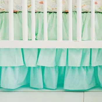 Mint Ruffled Crib Skirt | Spring Floral Crib Collection