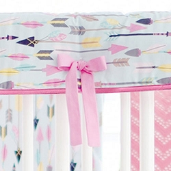 Pink and Aqua Arrow Crib Rail Guard Cover Only | Little Explorer Crib Collection