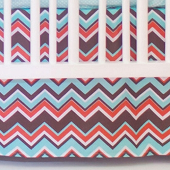 Orange And Aqua Chevron Nursery Skirt Piper In Crib Collection