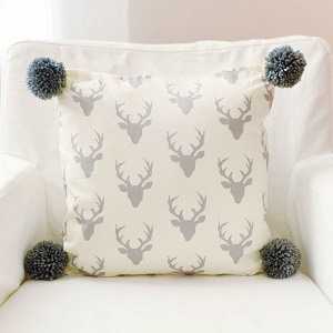 Gray Deer Pillow with Pom Poms | Buck Forest in Silver Crib Collection