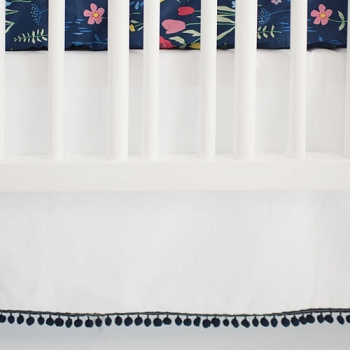 Crib Skirt with Navy Pom Poms | Poppyfield Collection
