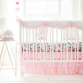 Floral Crib Rail Guard Set | Rose Garden in Pink Crib Collection