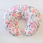 Floral Nursing Pillow Slipcover | Rosewater in Coral Collection