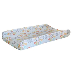 Aqua Floral Changing Pad Cover  |  Spring Fever Crib Collection