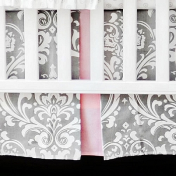Gray and Pink Damask Nursery Dust Ruffle | Stella Gray Collection