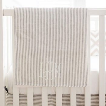 Khaki Linen Baby Blanket | Washed Linen in Ecru Stripe & Oatmeal Crib Collections