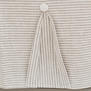 Pleated Linen Crib Skirt | Washed Linen in Ecru Stripe Collection