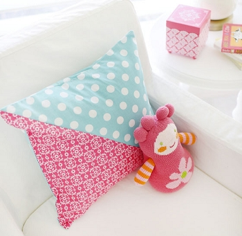 Pink Floral & Aqua Throw Pillow