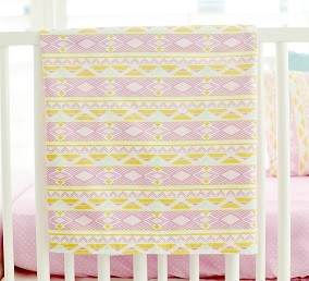 Lavender and Gold Baby Blanket | Tribal Study in Jewel Crib Collection