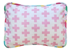 Pink Swiss Cross Pillow | Uptown in Hot Pink Crib Collection