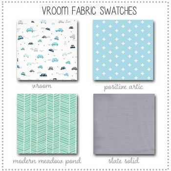 Vroom Crib Bedding Collection Fabric Swatches Only