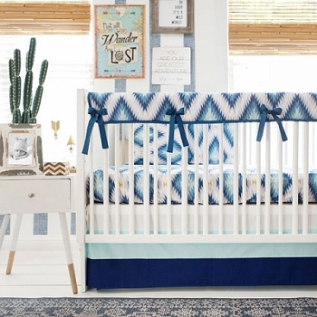 Boy Navy Aztec Crib Set | Wander in Blue Crib Collection