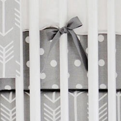 Gray Polka Dot Crib Sheet | Wanderlust in Gray Collection