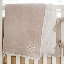 Faux Fur Baby Blanket | Washed Linen in Flax Collection