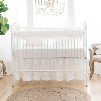 White Linen Crib Bedding | Washed Linen in Ivory Collection