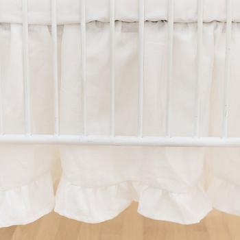 Linen Ruffled Crib Skirt | Washed Linen in Ivory Collection