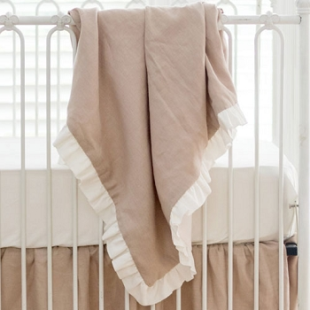 Linen Ruffle Baby Blanket | Washed Linen in Natural Crib Collection