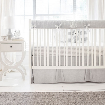 Gray Linen Crib Rail Guard Set | Washed Sea Salt Gray Linen Crib Collection