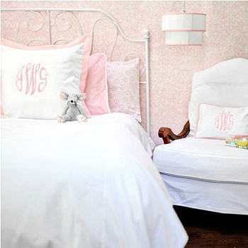 White Bedding Set with Pink Trim