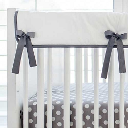 White and Gray Pair of Short Side Crib Rail Covers