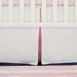 White Crib Skirt with Pink Pleat | White Pique in Pink Collection