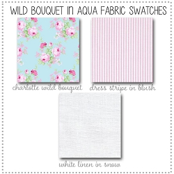 Wild Bouquet in Aqua Crib Collection Fabric Swatches Only