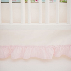 White Crib Skirt with Pink Ruffle | Wild Bouquet in Aqua Crib Collection