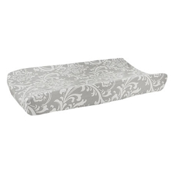 Gray Damask Changing Pad Cover | Wisteria in Slate