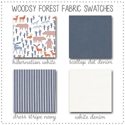 Woodsy Forest Crib Collection Fabric Swatches Only