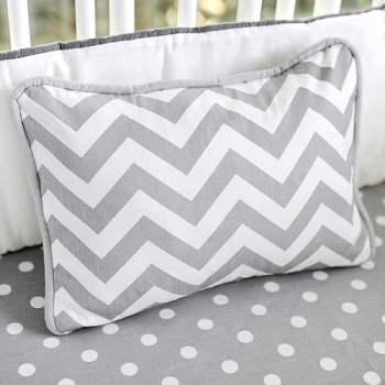Chevron Accent Pillow | Zig Zag Baby in Gray Crib Bedding Collection