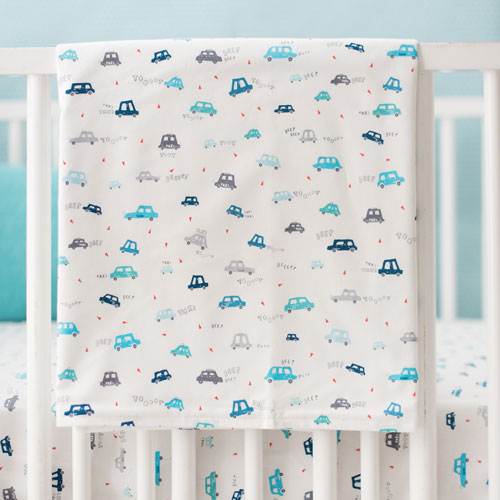 Blue Baby Blanket | On My Way Vroom Crib Collection