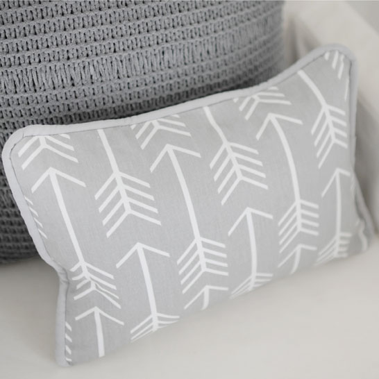 Gray Arrow Pillow Gray Pillow Nursery Pillows Magnificent Decorative Crib Pillows