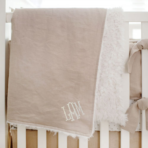 Linen Baby Blanket | Washed Linen in Flax Collection