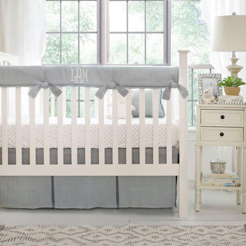 Linen Crib Bedding | Washed Linen in Gray Collection